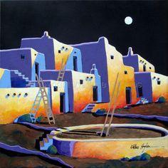 """Contemporary - """"Acoma Pueblo"""" (Original Art from Wallace Hughes)"""