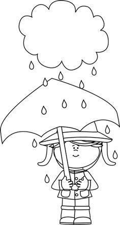 Black And White Girl Under A Rain Cloud