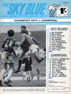 Coventry City 2 Liverpool 3 in March 1970 at Highfield Road. The programme cover #Div1