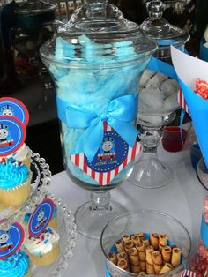 Cotton candy at a Thomas the Train birthday party! See more party planning ideas at CatchMyParty.com!