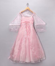 Cinderella Couture  Ballerina Pink Embellished Dress & Shawl