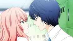 "This is from the anime Kanojo."" The couple in the gif is Hikari Tsutsui and Iroha Igarashi. Anime Episodes, Rekomendasi Anime Romance, Anime Manga, Anime Guys, Girl 3d, Otaku, Anime Love Story, Girl With Pink Hair, Anime Couples"