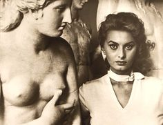 Sophia Loren, fabulous in a buckle-neck blouse, photographed in the Capitoline Museum, Rome, about 1955