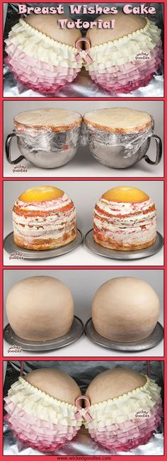 This would make a hilarious Bachelor Party Cake! Breast Wishes Booby Cake Tutorial by Wicked Goodies Beautiful Cakes, Amazing Cakes, Breast Cancer Cake, Sexy Cakes, Cake Tutorial, Photo Tutorial, Just Cakes, Cake Decorating Tutorials, Occasion Cakes