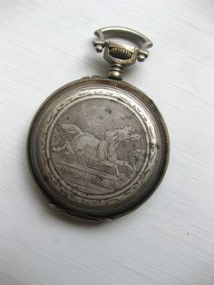 Antique Pocket Watch Case with Engraved Horse