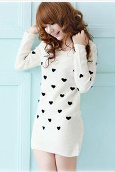 $8.99 Long Sleeve Heart Pattern Long Women Sweater at Online Apparel Store Gofavor