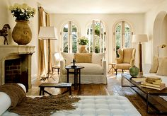 Gorgeous floor, and love the creams and brown tones, and those beautiful windows out to the gardens!