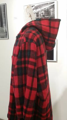 Ms. New Yorker, Vintage Coat, Buffalo Plaid Coat, 70s, Hooded Coat, Tartan, Wool Coat, Outerwear, Batwing Sleeves, Winter, Fall, Rustic by METROPOLISculture on Etsy
