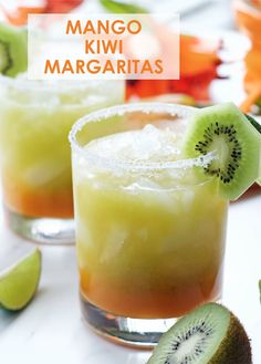 Mango Kiwi Margarita - Celebrate Cinco de Mayo with these beautiful and delicious cocktails!