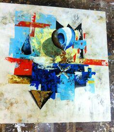Título: Vuelo en Zinc. Formato:  90 x 90 cm.  Técnica: Óleo y acrílico sobre lienzo. Año: 2015