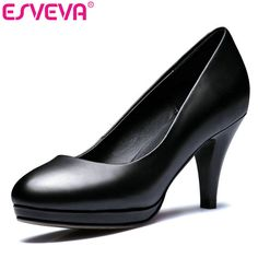ESVEVA 2017 Women Pumps Black differentThin High Heel Spring PU+real Leather Concise OL Shoes Wedding Women Shoes Big Size 34-42 #Black high heels http://www.ku-ki-shop.com/shop/black-high-heels/esveva-2017-women-pumps-black-differentthin-high-heel-spring-pu-real-leather-concise-ol-shoes-wedding-women-shoes-big-size-34-42/
