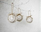 Christmas tree ornaments, shabby, chic, eco friendly, linen and lace set of 3. $9.50, via Etsy.