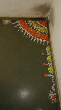 Rangoli with flower petals