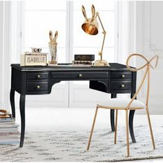 22 Trendy Home Office Black Desk Furniture Teen Desk, Emily And Meritt, Vanity Desk, Desk Hutch, Small Room Design, Black Desk, Black Makeup Desk, Pottery Barn Teen, Pbteen