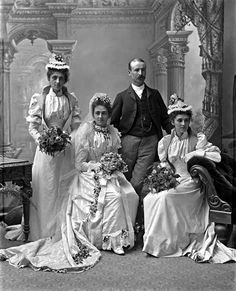 The remarkably elaborate dress that was standard Victorian wedding wear is shown… Wedding Photography Examples, Vintage Wedding Photography, Vintage Wedding Photos, Vintage Bridal, Wedding Portraits, Wedding Pictures, Vintage Weddings, Country Weddings, Bridal Photography