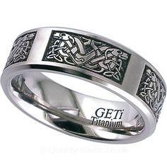 Geti Flat Titanium Celtic Two Dog Ring