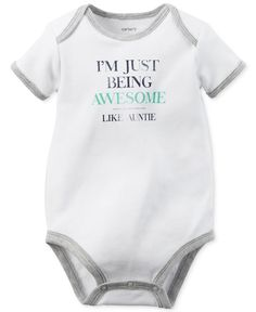 Carter's Baby Boys' Like Auntie Bodysuit. Or I'm just as awesome as my aunt Carters Baby Boys, Baby Boy Newborn, Toddler Outfits, Baby Boy Outfits, Auntie Baby Clothes, Baby Necessities, Niece And Nephew, Baby Time, New Baby Products