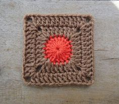 Dotty Solid Granny Squares pattern - love the neutral background with just a pop of colour