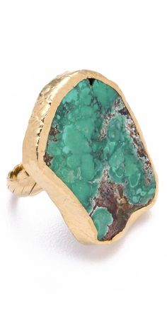 Dara Ettinger Chelsea Ring  A polished statement in and of itself, this ring catches the eye with a raw-cut, gold-trimmed agate. 24k gold plate.  Made in the USA.  108.34 CAD