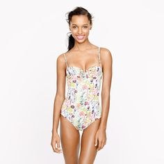 Liberty underwire tank in Tresco floral from JCrew. This might just be my summer suit. I love the neckline. I think it will give the allusion of cleavage. Always a nice thing to have in a swim suit. Love the fresh, floral design and my kids wouldn't be embarrassed  by me wearing it. All good points.