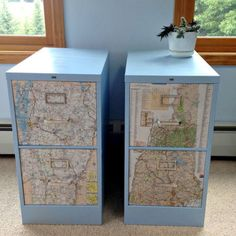 14 DIY Ways For World Travelers To Craft With Old Maps. Filing Cabinet ...