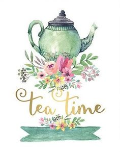 Look at this 'Tea Time' Watercolor Print Tee Kunst, Vintage Tee, Vintage High Tea, Tea Quotes, Tea Time Quotes, Decoupage Vintage, Decoupage Paper, Cuppa Tea, My Cup Of Tea