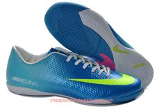 Nike Mercurial Victory IV IC Indoor Soccer Cleats Blue Volt Green Pink