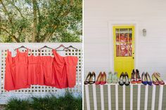 Healdsburg Modern Cottages are the backdrop for colorful bridesmaid dresses and shoes