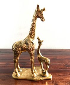 Vintage Mid Century Brass Giraffe Figurines Mother And Calf