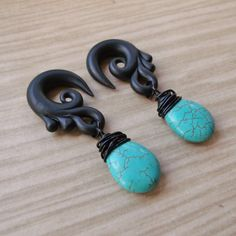 Turquoise Tear Gauged Earrings