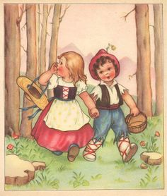 Vintage Hansel and Gretel Vintage Children's Books, Vintage Cards, Vintage Postcards, Old Illustrations, Children's Book Illustration, Vintage Pictures, Vintage Images, Cute Pictures, Jessie Willcox Smith
