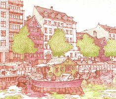 Copenhagen. Drawing City Markers Art Pencil. My architecture drawings, travel sketches. More find here: http://www.olgaart888.com Architecture drawing, illustrations, architecture sketches made with pencil, marker, watercolor.  Sketching, presentation, building, tutorial, art, design, landscape, hand rendering, techniques, texture, shadows.  My Markers: Copic, Promarker, Chartpak, Stylefile markers Hand Renderer: Olga Sorokina