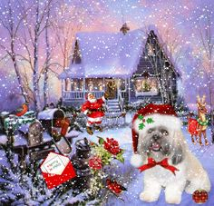 Merry Christmas Dog cute animated snow dog puppy christmas merry christmas santa christmas pics