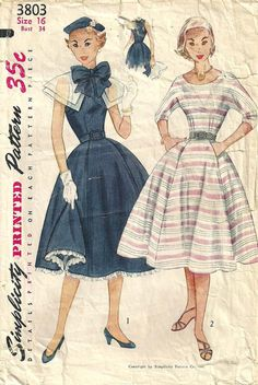 Simplicity 3803 Vintage 50s Sewing Pattern Dress Size 16 Bust 34