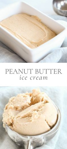 This Peanut Butter Ice Cream recipe is incredibly creamy and made with just three ingredients in minutes. It's the perfect dessert on its own but also pairs well with chocolate cakes, brownies and more! No Cook Desserts, Homemade Desserts, Sweet Desserts, Easy Desserts, Delicious Desserts, Yummy Food, Fun Easy Recipes, Real Food Recipes, Snack Recipes