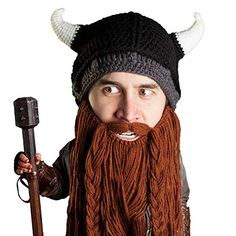 dd68ba979d9 Beard Head Viking Pillager Beard Beanie - Funny Knit Horned Hat w Fake Beard