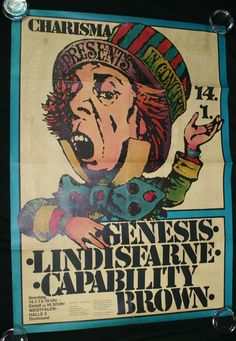 CHARISMA / GENESIS - early Charisma artists tour poster from January 1973 featuring Genesis,16