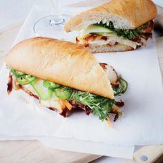 Five spice chicken banh mi sandwiches. F&W This version of the classic Vietnamese banh mi sandwich showcases fragrant spiced chicken. Five Spice Chicken, Chicken Spices, Chicken Recipes, Banh Mi Sandwich, Sandwich Recipes, Vietnamese Sandwich, Sandwich Board, Grilled Sandwich, Chicken Sandwich