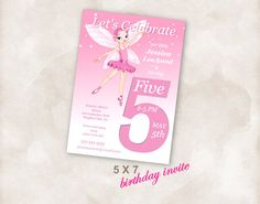 5X7 5th Birthday party invite Invitation printable by Mazoria