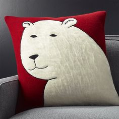 """Polar Bear 23"""" Holiday Pillow with Feather-Down Insert"""