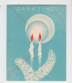Vintage-Candles-with-Teal-Glow-Christmas-Greeting-Card