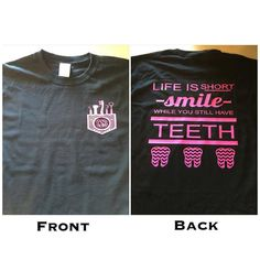 Dentist-Dental Hygenist Short Sleeve tshirt by RandRCustomVinyl - Humor shirts - Ideas of Humor Shirts - Dentist-Dental Hygenist Short Sleeve tshirt by RandRCustomVinyl Dental Hygiene School, Dental Humor, Dental Assistant, Dental Hygienist, Oral Hygiene, Dental World, Dental Life, Dental Surgery, Dental Implants