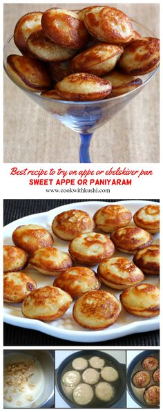 Sweet Rice Appo or Appe or Paniyaram is a soft and delicious melt in mouth Indian recipe prepared using rice, ripe bananas and jaggery (or sugar). Healthy Crockpot Recipes, Healthy Dessert Recipes, Indian Food Recipes, Delicious Desserts, Vegetarian Snacks, Dinner Recipes, Desserts For A Crowd, Easy Desserts, Best Breakfast Recipes