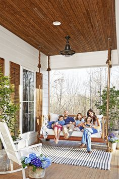 Spacious southern front porch with swing.