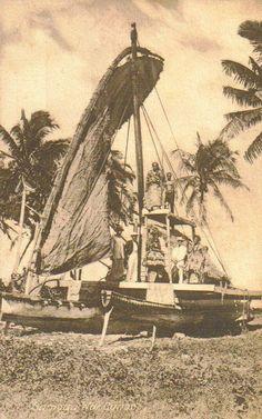 Samoa war canoe, 1910