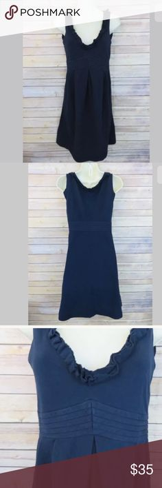 """J Crew navy blue sleeveless ruffle dress J. Crew navy blue sleeveless ruffled v-neck cotton dress, Womens size 2  No holes or stains - no flaws to note  100% cotton  Gathered at waist  Side zip   Armpit to Armpit: 15"""" Shoulder to hem: 37"""" J. Crew Dresses Midi"""