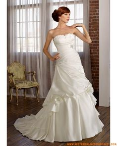 Satin Strapless Ruffles Bust With Rouched Pick Up A Line Skirt Hot Sell Cheap Corset Wedding Dress