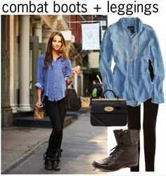 Combat boats outfit winter leggings denim shirts ideas for 2019 Legging Outfits, Denim Leggings, Boots And Leggings, Jeans, Combat Boot Outfits, Winter Boots Outfits, Black Combat Boots, Casual Winter Outfits, Fall Outfits