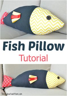 Make a DIY fish shaped pillow with this step-by-step fish pillow tutorial. Stuffed fish for kids or for home decor.