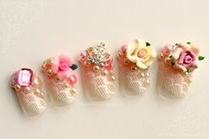 Kawaii Rose Princess Fake Nails Japanese 3D by NeverTooMuchGlitter